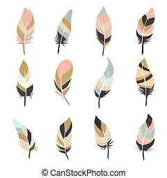 Boho style feather set isolated on white background. Vector...