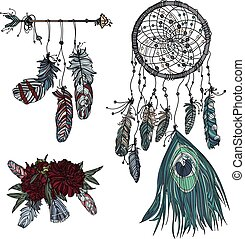 Boho style, Hand drawn dreamcatcher, ethnic arrow, bouquet...