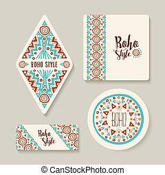 Boho style sticker or tags set with tribal art - Boho style...