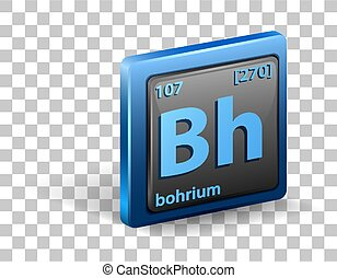 Bohrium chemical element. Chemical symbol with atomic number and atomic mass.