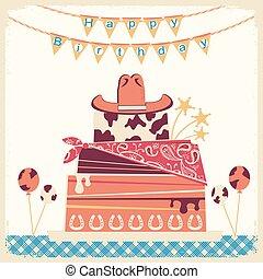 boiadeiro, aniversário, bolo, chapéu, cartão, Feliz