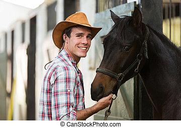 boiadeiro, com, um, cavalo, em, estável