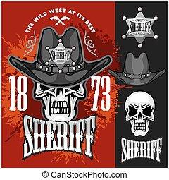 boiadeiro, cranio, em, a, chapéu, e, xerifes, estrela