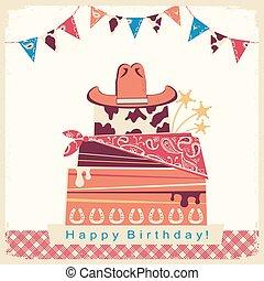 boiadeiro, feliz aniversário, partido, cartão, com, bolo, e, chapéu vaqueiro
