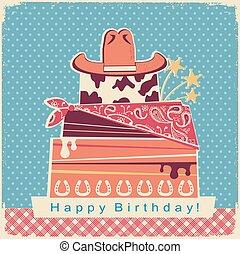 boiadeiro, feliz aniversário, partido, cartão, fundo, com, bolo, e, chapéu vaqueiro