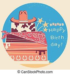 boiadeiro, feliz, birthday.western, cartão, com, bolo, e, chapéu vaqueiro