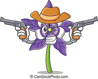 boiadeiro, flor, personagem, caricatura, columbine