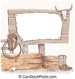 boiadeiro, fundo, com, madeira, tábua, para, text., americano, ranch.