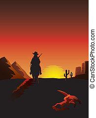 boiadeiro, montando, um, cavalo, em, a, deserto