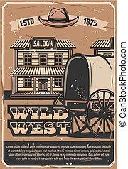 boiadeiro, oeste, carruagem, ocidental, selvagem, taverna