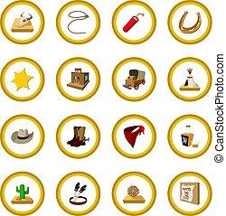 boiadeiro, oeste, selvagem, círculo, caricatura, ícone