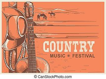 boiadeiro, país, guitarra, americano, música, cartaz, chapéu