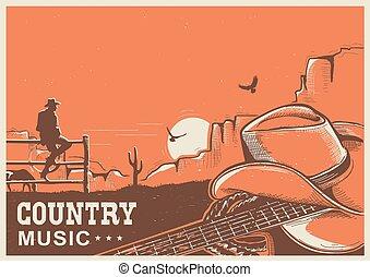 boiadeiro, país, guitarra, americano, música, cartaz, chapéu, paisagem