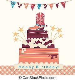 boiadeiro, partido, cartão, com, bolo grande, e, boiadeiro, sapato, ligado, doce, cake.