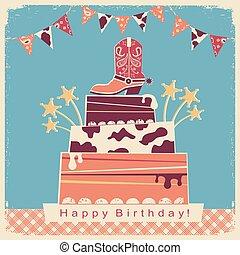 boiadeiro, partido, cartão, com, bolo grande, e, boiadeiro, shoe.
