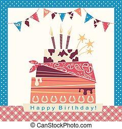 boiadeiro, partido, cartão, com, feliz aniversário, bolo grande, e, ocidental, decorações