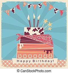 boiadeiro, partido, cartão, com, feliz aniversário, bolo grande