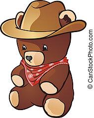boiadeiro, personagem, caricatura, urso, pelúcia