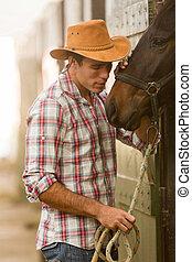 boiadeiro, sussurrando, para, um, cavalo