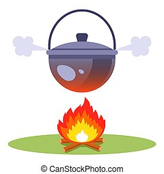 boil water over a fire. cook soup in the woods.