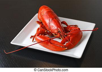 Boiled Atlantic Lobster on white plate - Boiled Atlantic...