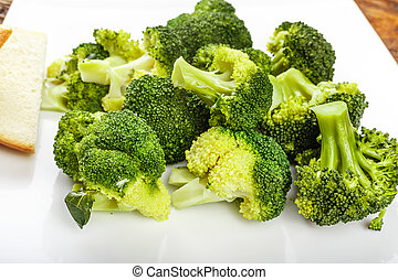 Boiled broccoli on a plate