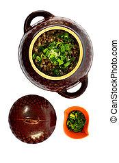 Boiled buckwheat kasha with butter