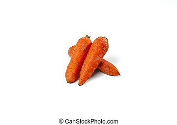 boiled carrots on a the white background