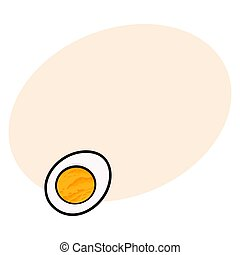 Boiled chicken egg cut in half, sketch style vector illustration