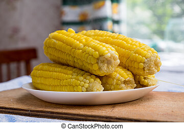 Boiled corn on a white plate in the kitchen