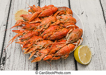 Bowl of fresh hot boiled crawfish