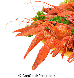 Boiled crayfish with parsley