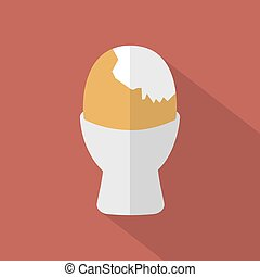 Boiled Egg Cup Icon Vector Illustration