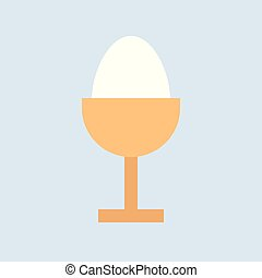 boiled egg, food and gastronomy set, flat icon