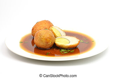 boiled egg fried with tamarind sauce