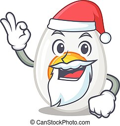 Boiled egg in Santa cartoon character style with ok finger