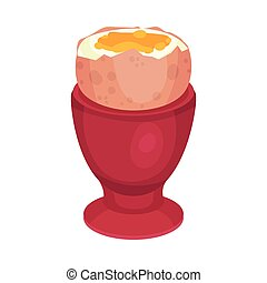 Boiled egg in the stand. Vector illustration on a white background.