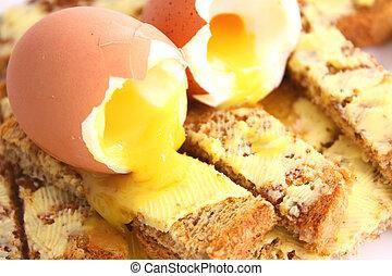 Boiled egg on toast