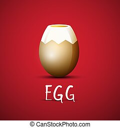 Boiled Egg with Eggshell on Red Background Vector Design