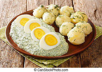 Boiled eggs and potatoes served with German green sauce close-up in a plate. horizontal