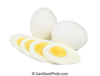 Two whole and one sliced boiled eggs isolated on white background