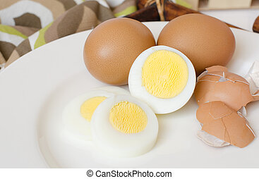 Boiled eggs on a white plate