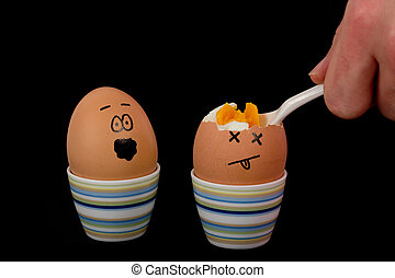 The picture shows an egg being eaten and an egg which is scared about that.