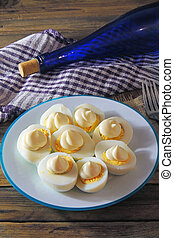 boiled eggs with sauce