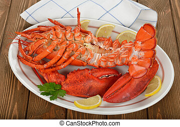 Boiled lobster on brown background