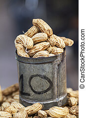 Boiled peanut was sold in a tin cup