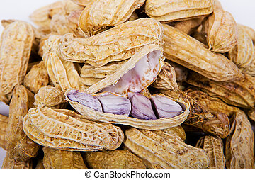 Boiled peanuts on a white background.