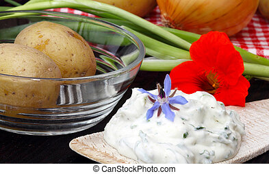 Boiled potatoes and cottage cheese