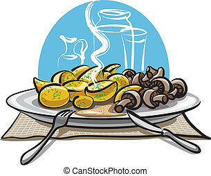 boiled potatoes and mushrooms