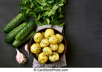 Boiled potatoes with dill, top view